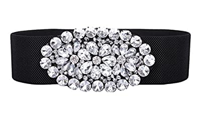 Women's Stretch Floral Belts Beaded Crystal Amiveil Wide Stone Elastic Belt
