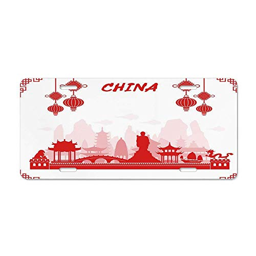 Kingsinoutdoor Ancient China Decorations,Travel Landmarks Traditional Oriental Cultural Tourism,Red Light Pink White Decorative Novelty Custom Front License Plate Cover Car Tag Decorative 12 x 6 ()