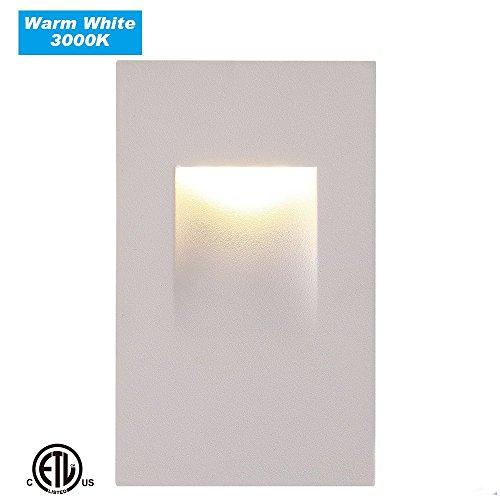 Cloudy Bay CBST004830WH LED Step Light,vertical,3000K Warm White 3W,Stairway Stair Light,ETL Certified,White Finish
