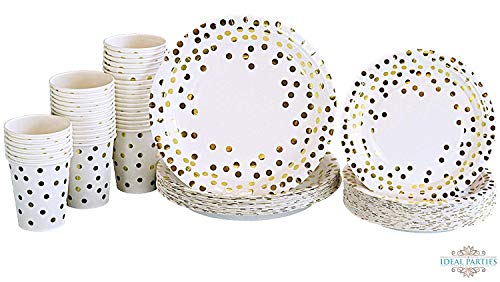 Gold Dot Disposable Paper Plates with Cups Set 150 PCS - Elegant paper Cups, Dinner and Dessert Plates for Bridal Shower, Baby Shower, Wedding, Anniversary, Birthday Any Party supplies for 50 Guest!! for $<!--$39.98-->
