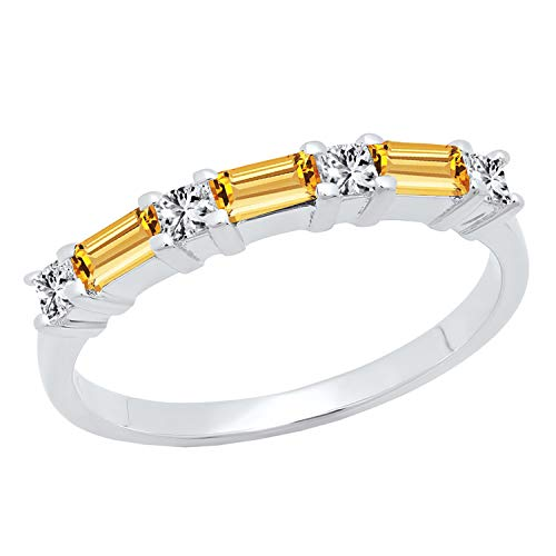 Dazzlingrock Collection 14K 4X2 MM Baguette Citrine & Princess Diamond Ladies Wedding Band, White Gold, Size 8