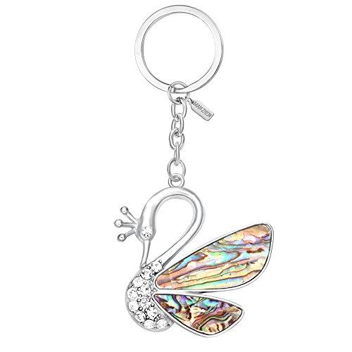 MANZHEN Gorgeous Crown Swan Keychain Abalone Paua Shell A...