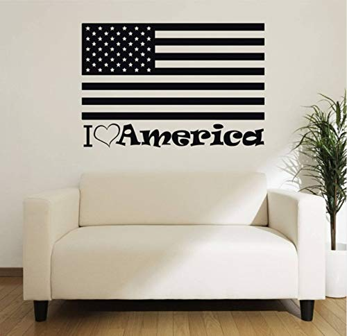ponana American Flag Wall Decal Quotes I Love America Vinyl Wall Stickers for Kids Rooms Livingroom Patriotic Style Home Decor 86X57Cm ()