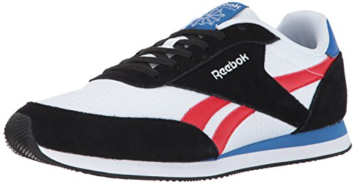 L Jogger 2 Fashion Sneaker, Black/White/Primal Red/Awesome Blue, 10.5 M US (Red Black White Mens Sneakers)