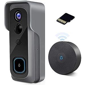 【2020 Upgrade】 WiFi Video Doorbell Camera, 1080P Wireless Home Security Door Bell, 32GB SD Card/Chime, Camera Doorbell…