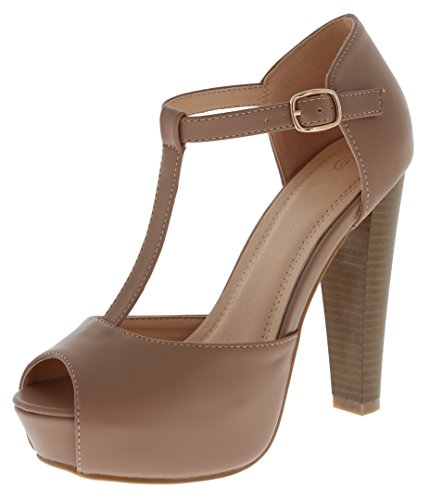 Cambridge Select Women's Peep Toe T-Strap Buckled Ankle Chunky Platform Stacked High Heel Sandal,7.5 B(M) US,Taupe PU