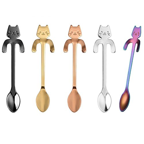 Gydthdeix 5 Pcs Stainless Steel Mini Cat Kitten Design Stai