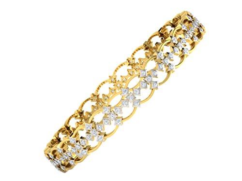 Libertini bracelet argent 925 femme plaque or Jaune serti de Diamant