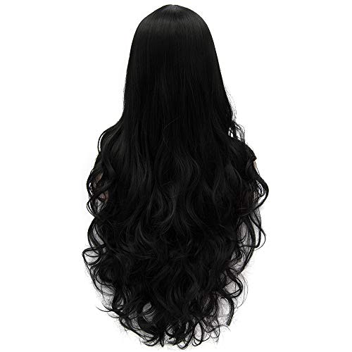 Flovex Women Long Wavy Cosplay Wigs Ladies Sexy Natural Costume Club Party Daily Hair with Wig Cap (Black) -