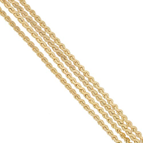 Five Strand Serpentine Chain Necklace Gold Tone 24