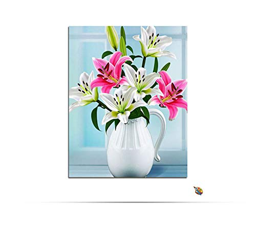 - aoyuff Painting by Number Flowers Lilies in Vase DIY Hand Painted Canvas Oil Coloring by Number Modular Wall Picture for Home Decor