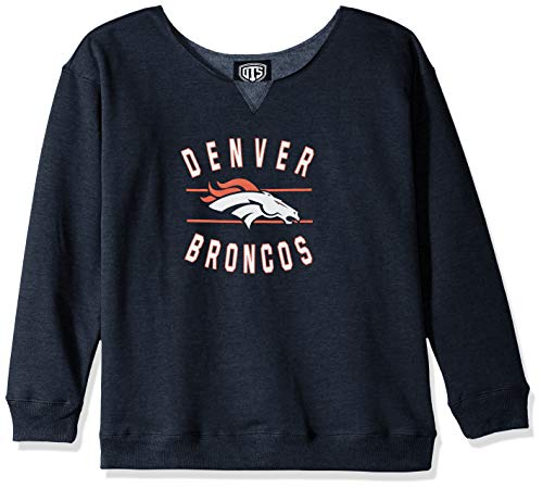 (NFL Denver Broncos Female OTS Singleback Fleece Pullover, Fall Navy, X-Large)