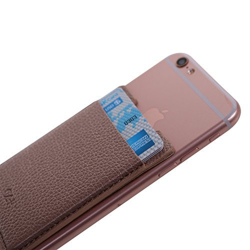 Case Art Plus Credit Card Secure Holder Stick On Wallet   Leather   Discreet Id Holder Leather Card Sleeves For Smartphones Iphone 6S 7 Samsung Galaxy Cell Phone Wallet Case 3M Adhesive  Rose Gold
