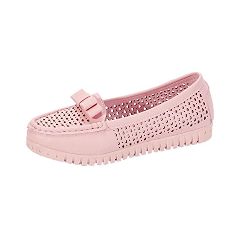 Flat Sandals for Women WuyiMC Butterfly-knot Low Heels Flat Loafers Shoes (Pink 6)