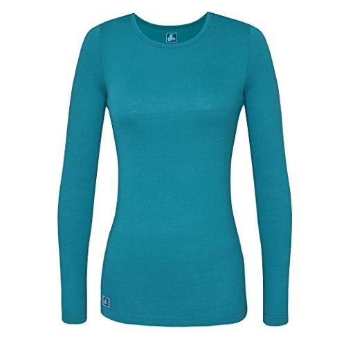 Adar Womens Comfort Long Sleeve T-Shirt Underscrub Tee - 2900 - Teal Green - S