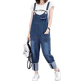 INNIFER Women's Plus Size Denim Bib Jumpsuit Pants Loose Overall Jeans with Pockets