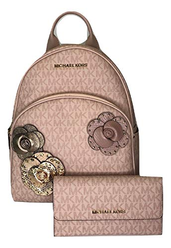 MICHAEL Michael Kors Abbey MD Backpack bundled with Michael Kors Jet Set Travel Trifold Wallet (Signature MK Fawn/Ballet)