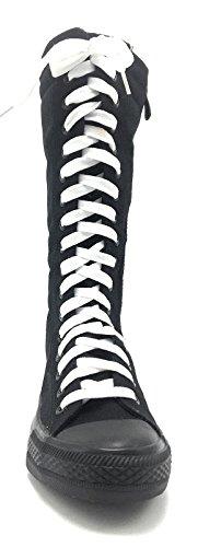 Nuevas Zapatillas De Deporte De Lona Fasion Para Mujer Zapatos De Cordones De Skatter Hasta La Rodilla Con Cordones Negros / Blancos Con Cordones