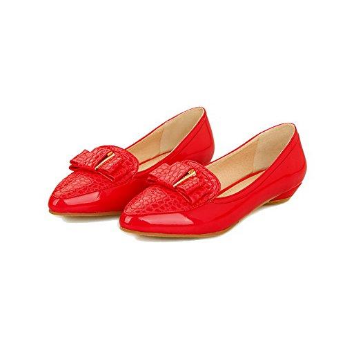 geschlossener und Damen Odomolor tiefem Absatz Pumps und Pumps mit Lackleder Zehenschuhe Rot 0rwdxqdY