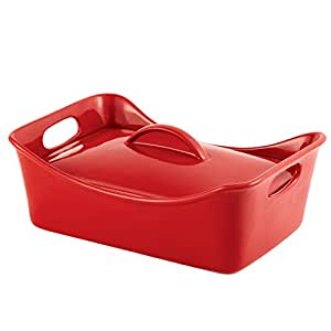 Rachael Ray Stoneware 3-1/2-Quart Covered Rectangle Lasagna Casserole, Red