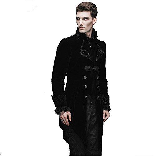 Steampunk Gothic Men Jacket Coats Velvet Jacket Renaissance Costume Halloween Clothing (M, Black) (Gothic Costumes Men)