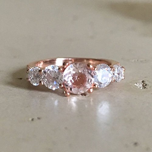 Rose Gold Anniversary Ring- Morganite Promise Ring for Her- Anniversary Ring- Five Stone Rose Gold Ring