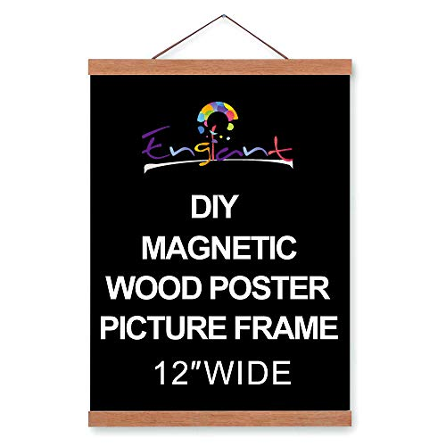 (Magnetic Poster Hanger Frame, DIY Lightweight Wooden Picture Frame Hanger with Strong Magnet for Hanging Poster, Map, Photos, Paper Print, Oil Painting and Canvas Print Artwork, Easy to Operate 12 in)
