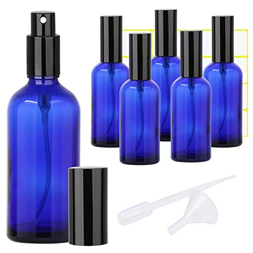 4oz Glass Spray Bottle, Perfume Atomizer - Empty Refillable Blue Mister Spray Bottle with Black Metal Fine Mist Sprayer - 6 Pack