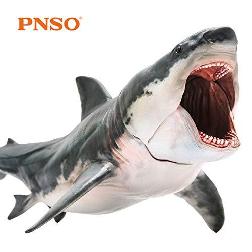 PNSO メガロドン ホホジロザメ パットン サメ 海洋動物 生物 魚類 フィギュア PVC モデル プラモデル おもちゃ プレミアム 15.8cm こどもサメ好きの孫への誕生日 プレゼント オリジナル インテリア 口が開閉可能
