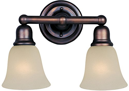Maxim 11087SVOI Bel Air 2-Light Bath Vanity Wall Sconce, Oil Rubbed Bronze Finish, Soft Vanilla Glass, MB Incandescent Incandescent Bulb , 60W Max., Damp Safety Rating, Standard Dimmable, Hemp String - Stores Air Bel