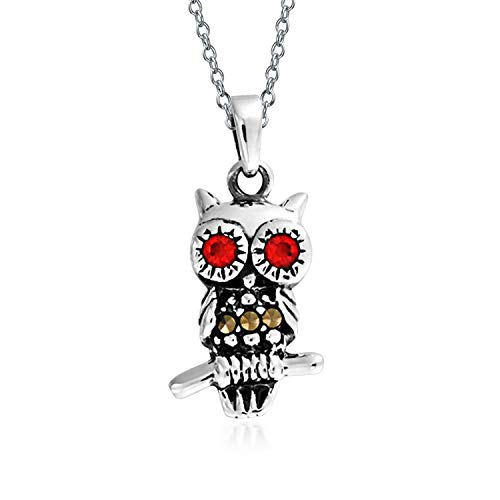 Marcasite Red Garnet Eyes Tiny Wise Owl Pendant Necklace For Teen For Women 925 Sterling Silver
