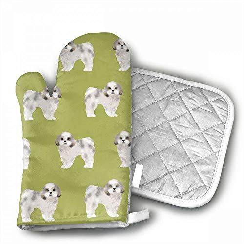 Shih Tzu Fabric Lime Cute Dog Fabric Toy Oven Mitts,Professi