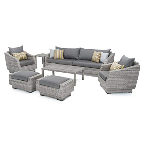 RST Brands Cannes 8 Piece Sofa and Club Chair Seating Group with Cushions, Charcoal Grey (Rst Patio Set Outdoor)