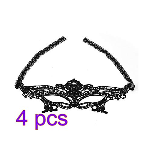 Party Masks - 4pcs Sexy Lady Balck Lace Mask Girls Women Masquerade Ball Halloween Cosplay Party Masks Fancy Dress - Sheets Party Ball Masquerade Bulk Simple Mold Blue Stencil Face -