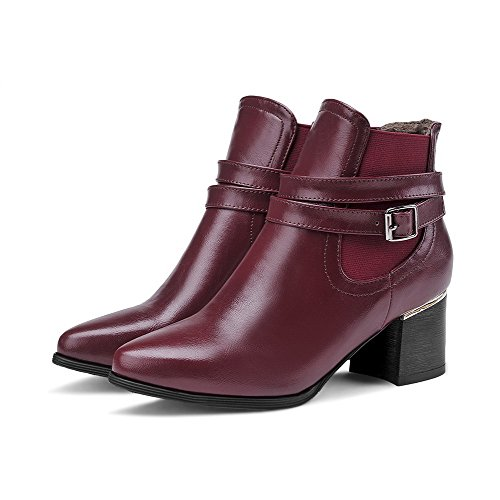 Allhqfashion Womens Pull-on Puntige Neus Teen-hakken Pu Lage Laarzen Claret