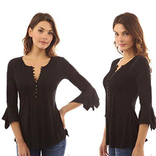 Haut Col Grande Chic Bouton V Longues Taille Tunique HUI Lache Blouse Mode Chemisier Noir Top t Femme HUI Shirt Longues Manches Femmes Classique T wPqqFxXRO5