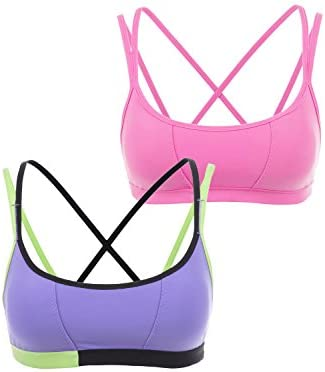 f7b20ede0e CRZ YOGA Women s 2 Pack Padded Cool-Look Criss Cross Strappy Yoga Sports  Bra Hot Pink Purple XS  Amazon.in  Clothing   Accessories