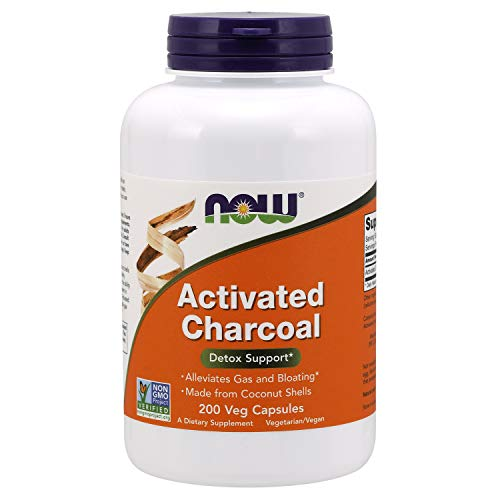 NOW Supplements, Activated Charcoal Made from Coconut Shells, Non-GMO Project Verified, Detox Support*, 200 Veg Capsules