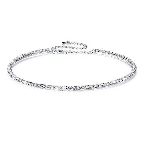 Fit&Wit Bridal Wedding Jewelry Crystal Rhinestone Collar Choker Necklace Silver (1-row Cz Rhinestones) by Fit&Wit