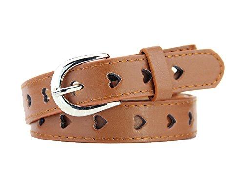 [New Fashion Women's Belts Hollow Heart Alloy Pin Buckle Belt Brown Faux Leather Strap] (Heart Cool Belt Buckle)