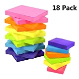 JPSOR Sticky Notes, Colorful Self-Stick Pads, 12 Pads 3''x3'', 6 Pads 2''x1.5'', 6 Colors, 100 Sheets/Pad