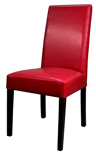 New Pacific Direct Hartford Leather Chair,Brown Legs,Red,Set of 2 ()
