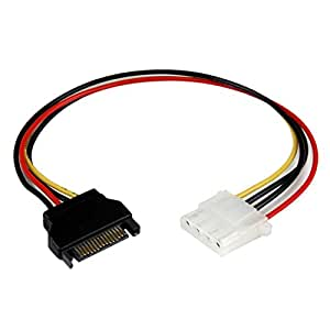 StarTech Cable Adaptador Convertidor Molex 4 Pines a SATA, Hembra LP4 a Macho SATA Alimentación Corriente, Conversor 30,5 cm