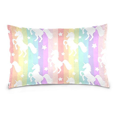 Cooper girl Rainbow Stripe Unicorn Pillow Case Sofa Bed Throw Pillow Cover Cotton Zipper 20x36 Inch