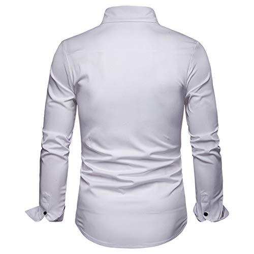 Manche Peinture T Ihengh Longue Taille Top Solide Chemises Lattice shirt Homme Blanc Casual Blouse Grande Men 0ES0wnqxd