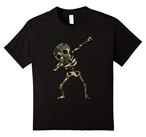 Kids Dabbing Skeleton Camouflage Halloween Dab Costume Shirt 8 (Hip Hop Party Costume Ideas)