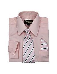 Vangogh Boys Long Sleeve Dress Shirt With Tie and Hanky