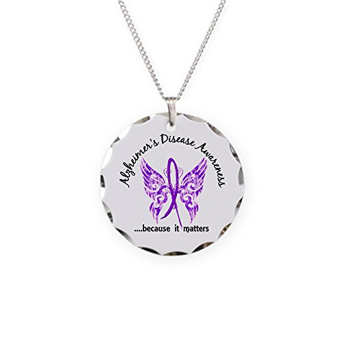 CafePress - Alzheimer's Disease Butterfl - Charm Necklace
