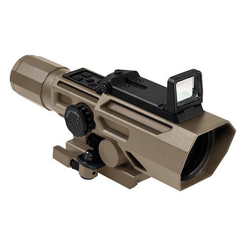NcSTAR NC Star VADOTP3942G, ADO 3-9x42mmx 40mm, P4 Sniper Reticle, Green Lens, Tan
