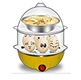 Inovera 2 Layer Egg Boiler Cooker and Steamer With Steel Bowl, Assorted Colour
